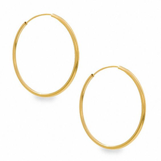 10k Gold 20mm Continuous Hoop Earrings