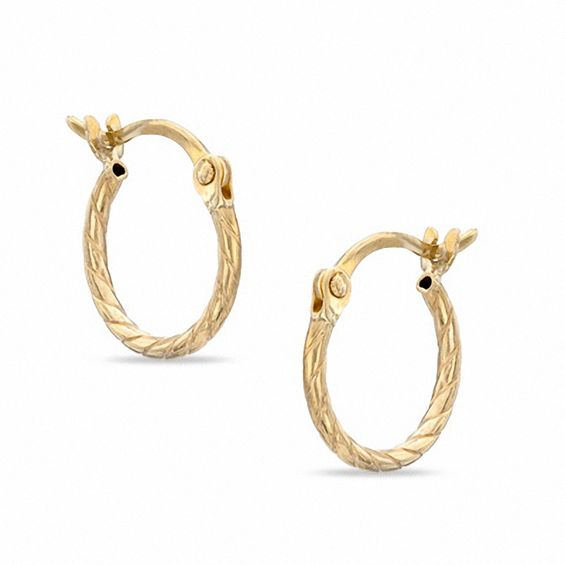 10k Gold Twisted Baby Hoop Earrings