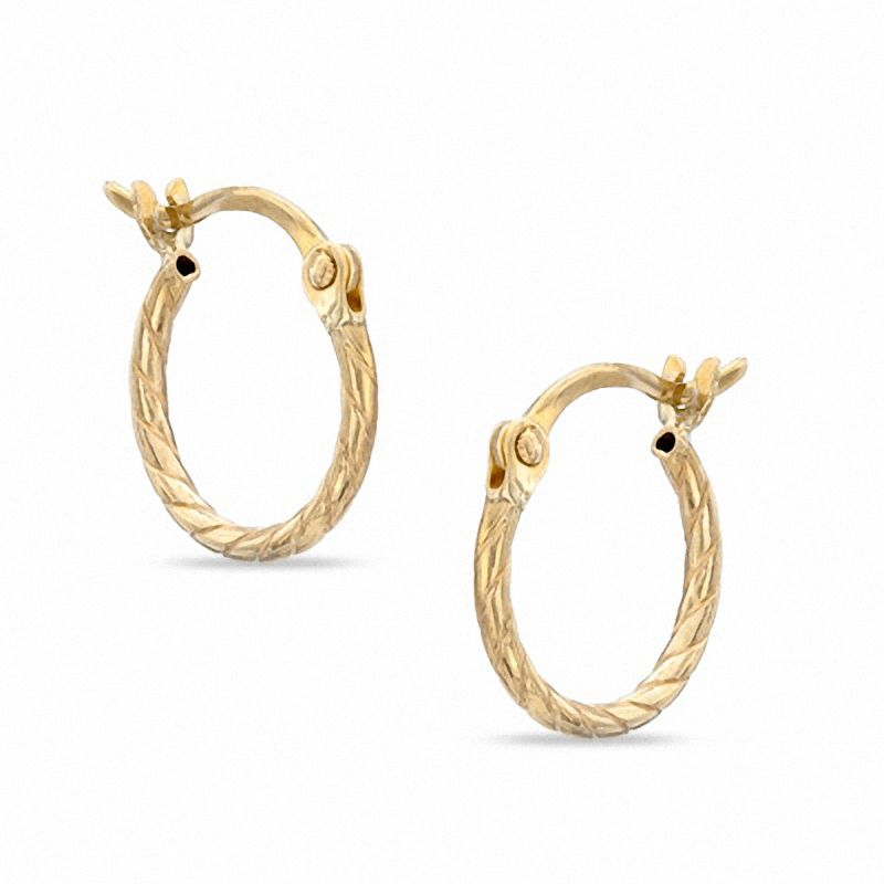 consignment upscale hoop diamond earrings gold