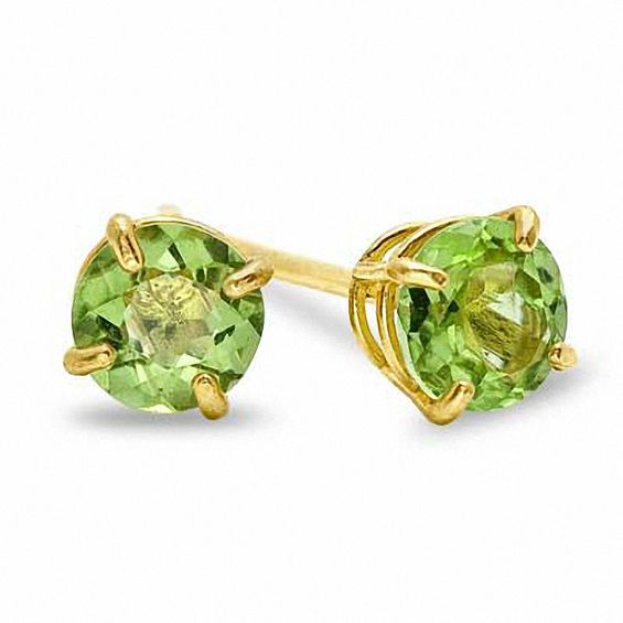 4mm Peridot Stud Earrings In 10k Gold