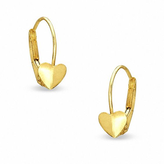 Child S 10k Gold Heart Shaped Leverback Earrings