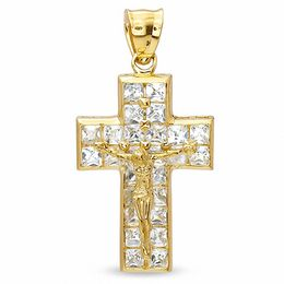Cubic Zirconia Bold Crucifix Charm in 10K Gold