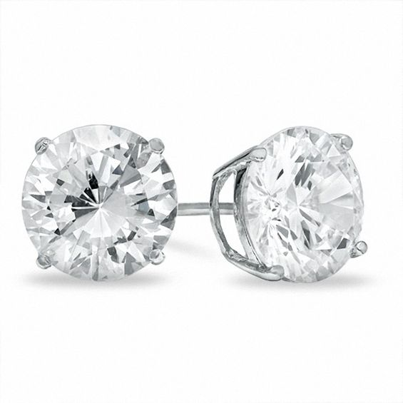 10mm Cubic Zirconia Stud Earrings In Sterling Silver