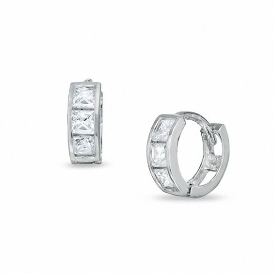 Princess Cut Cubic Zirconia Huggie Earrings In Sterling Silver