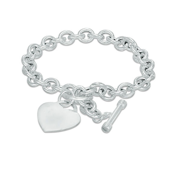 Heart Toggle Bracelet In Sterling Silver 8
