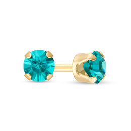 3.0mm Aqua Crystal Solitaire Stud Piercing Earring in 14K Gold
