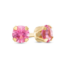 3.0mm Rose Crystal Solitaire Stud Piercing Earring in 14K Gold
