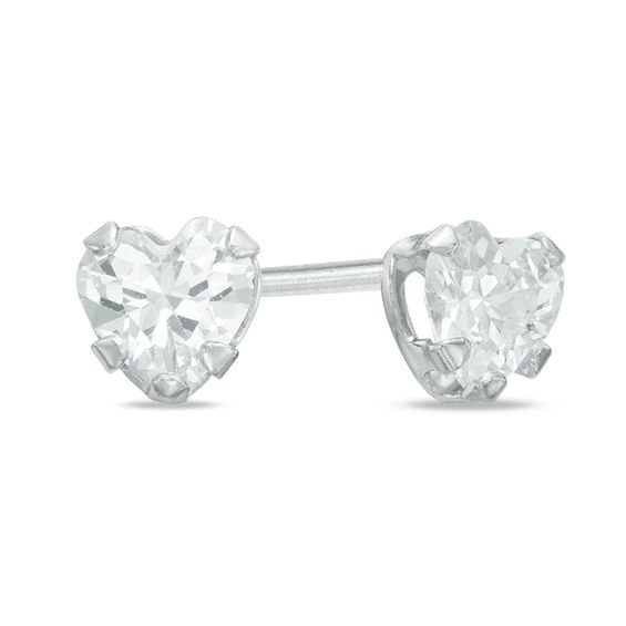 Child S 4mm Heart Shaped Cubic Zirconia Stud Earrings In 10k White Gold
