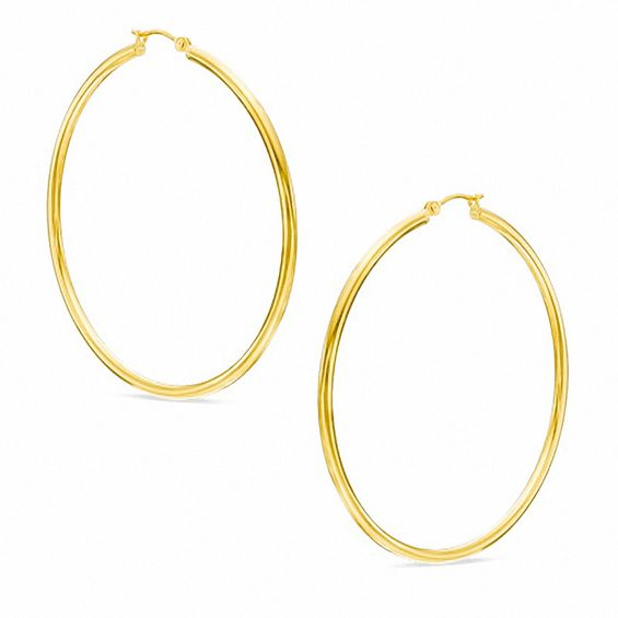 60mm Extra Large Polished Hoop Earrings In 10k Gold