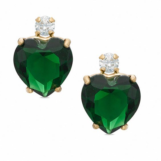 6mm Heart Shaped Lab Created Emerald Stud Earrings In 10k Gold With Cz