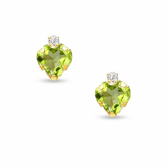 6mm Heart Shaped Peridot Stud Earrings In 10k Gold With Cz