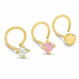 Nose Stud Set with Pink and White Cubic Zirconia in 14K Gold