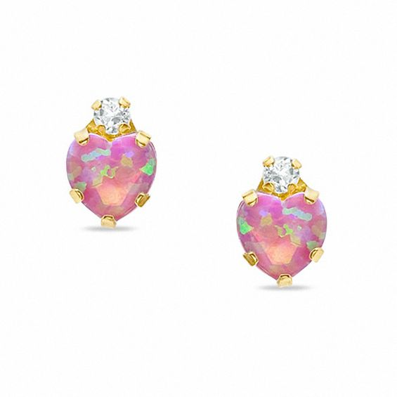 5mm Heart Shaped Lab Created Pink Opal Stud Earrings In 10k Gold With Cz