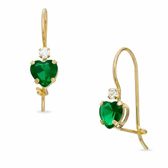 5mm Heart Shaped Lab Created Emerald Drop Earrings In 10k Gold With Cubic Zirconia