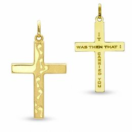 10K Gold Footprints Cross Charm
