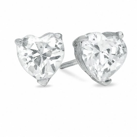 6mm Heart Shaped Cubic Zirconia Stud Earrings In Sterling Silver