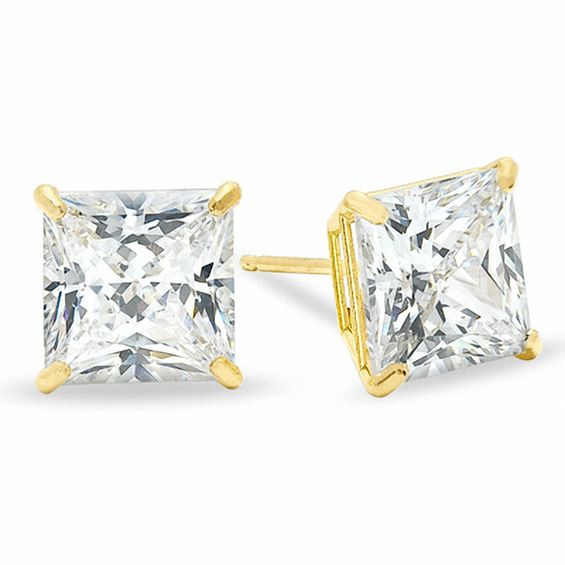 7mm Square Cut Cubic Zirconia Stud Earrings In 10k Gold