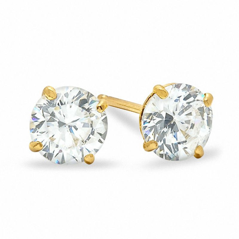 earrings diamond round au light c stud yellow green brilliant moissanite gold itm