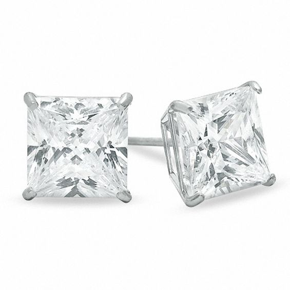 7mm Square Cut Cubic Zirconia Stud Earrings In 10k White Gold