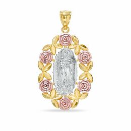 Our Lady of Guadalupe with Roses Charm in 10K Tri-Tone Gold