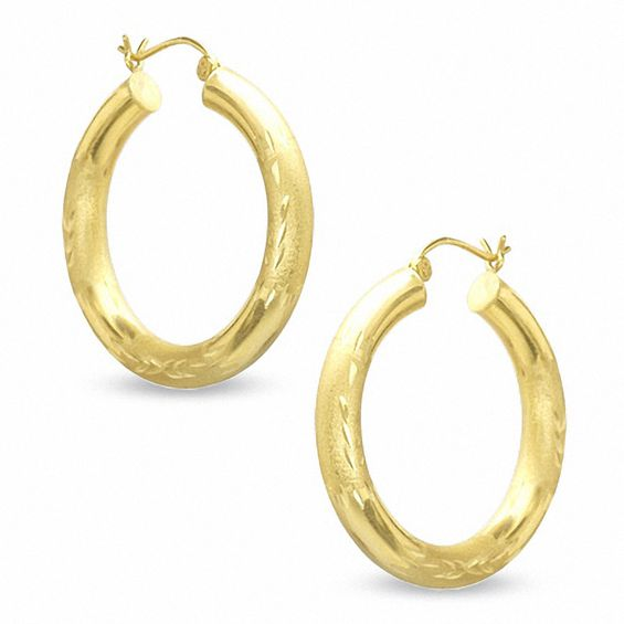 10k Gold 30mm Diamond Cut Hoop Earrings