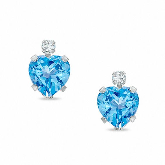 6mm Heart Shaped Blue Topaz Stud Earrings In 10k White Gold With Cz