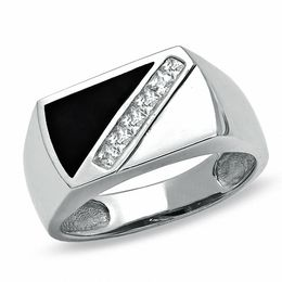 Men's Cubic Zirconia and Onyx Diagonal Ring in Sterling Silver - Size 10