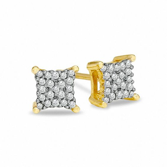 Diamond Accent Corner Frame Square Earrings In 10k Gold