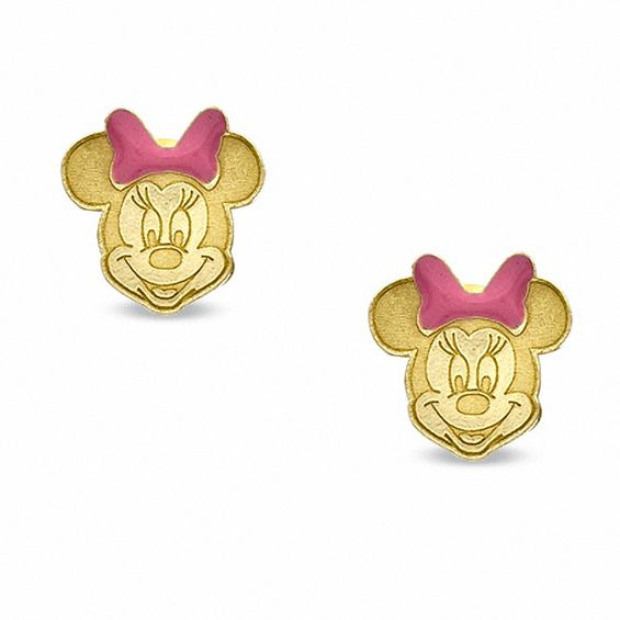 Minnie Mouse Piercing Earrings In 14k Gold