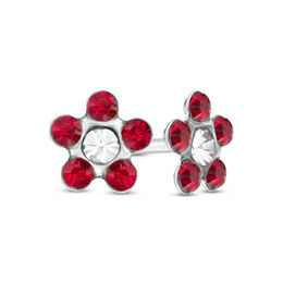 Dark Red Crystal Daisy Stud Piercing Earrings in 14K White Gold
