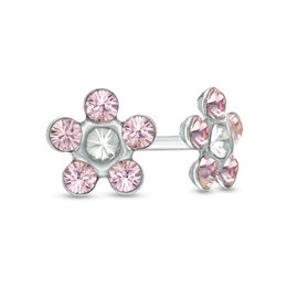 Light Purple Crystal Daisy Stud Piercing Earrings in 14K White Gold