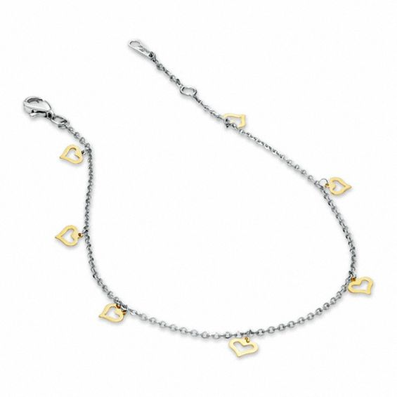 pin zales anklet heart link oval in and gold