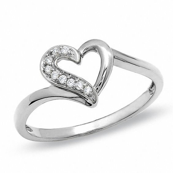 1 20 CT T W Diamond Heart Outline Ring in 10K White Gold