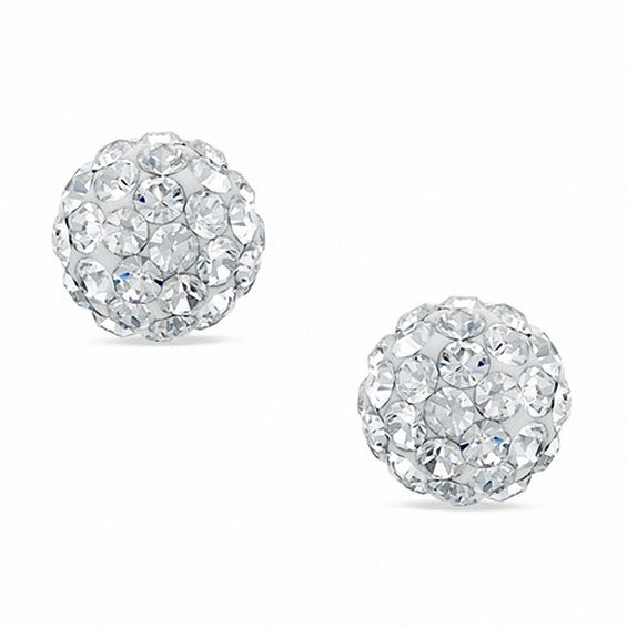 d94708aba 6mm White Crystal Ball Stud Earrings in 10K Gold | View All Jewelry ...