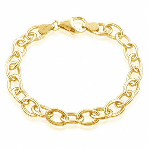 f00c69d50d8 Oval Link Charm Bracelet in Sterling Silver and 18K Gold Plate - 7.5 ...