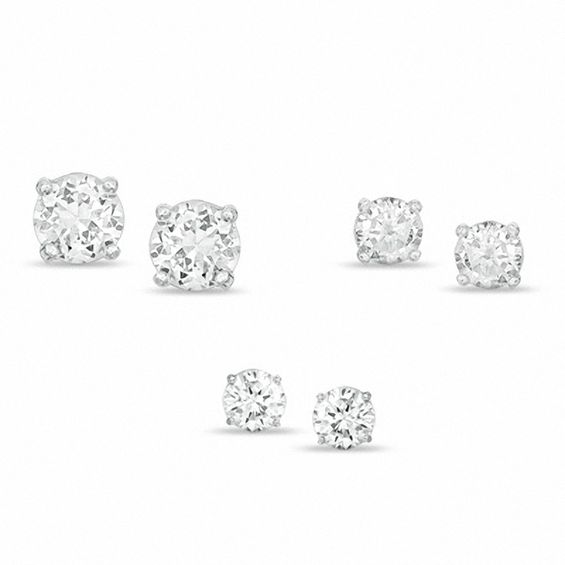 Cubic Zirconia Stud Earrings Set In Sterling Silver