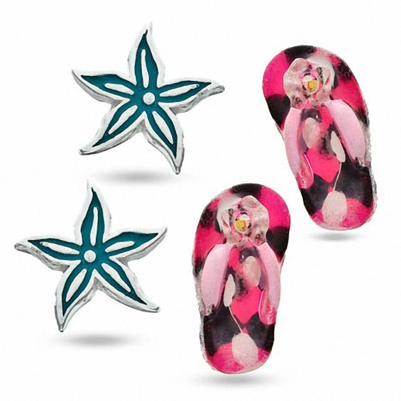 bfbc4f6535a4 Child s Crystal Starfish and Flip Flop Earrings Set in Sterling Silver with  Enamel