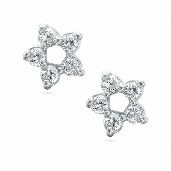 Cubic Zirconia Star Stud Earrings In Sterling Silver