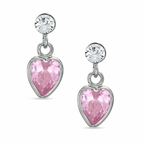 Child S Heart Shaped Pink Cubic Zirconia And Crystal Dangle Earrings In Sterling Silver