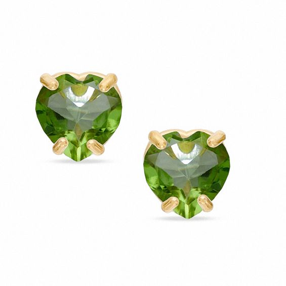 5mm Heart Shaped Peridot Stud Earrings In 10k Gold