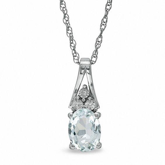 Oval Aquamarine and Diamond Accent Pendant in Sterling Silver V-18684985