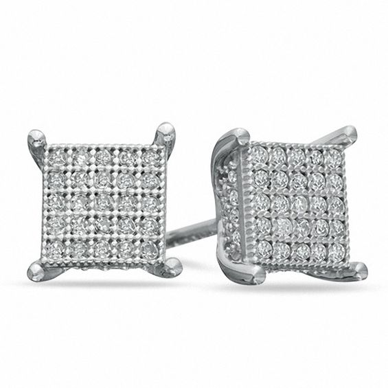 T W Diamond Square Stud Earrings In Sterling Silver