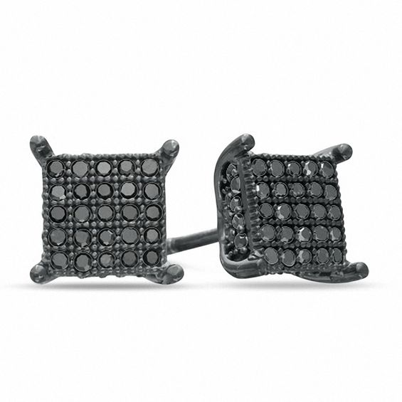 diamond square earrings Black