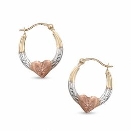 Heart Hoop Earrings in 10K Tri-Tone Gold