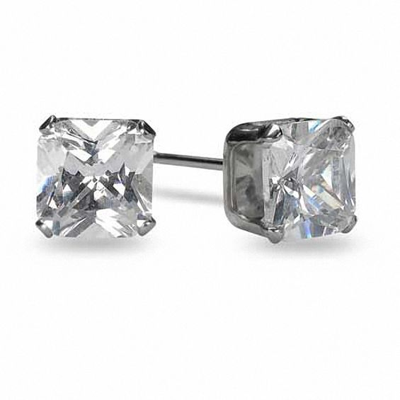 Men S 6 0mm Square Cut Cubic Zirconia Stud Earrings In Stainless Steel