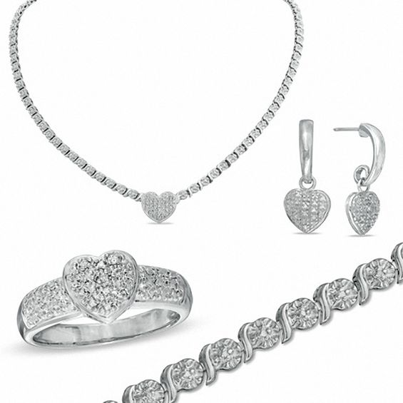Diamond Accent Heart Necklace Bracelet Ring And Earrings Set In Bronze With Sterling Silver