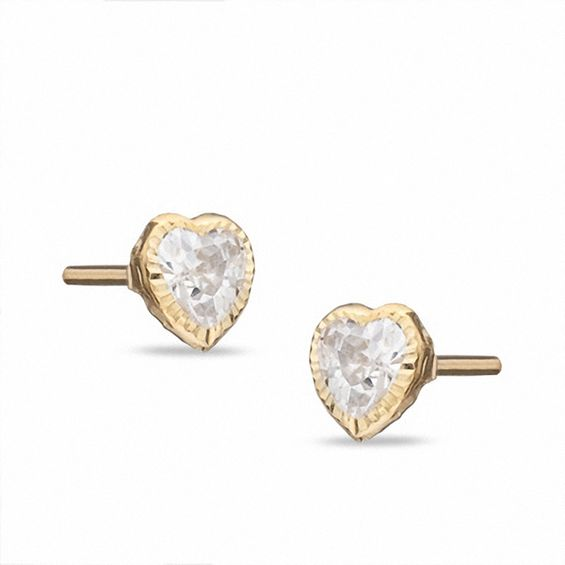 Child S 4mm Heart Shaped Cubic Zirconia Stud Earrings In 10k Gold
