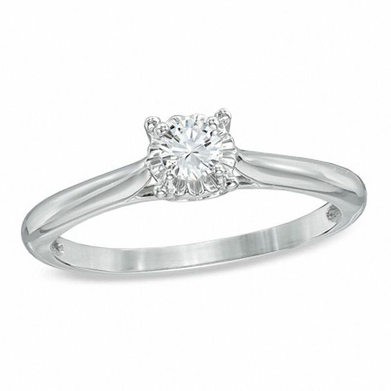 15 CT Diamond Solitaire Engagement Ring in 10K White Gold Size