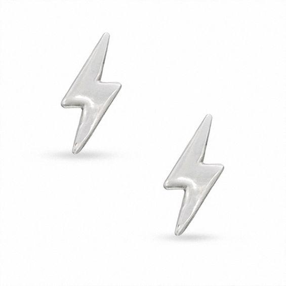 Lightning Bolt Stud Earrings In Sterling Silver Piercing Pagoda