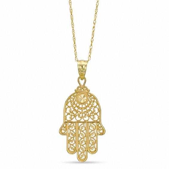 chain pendant hamsa and gold a white